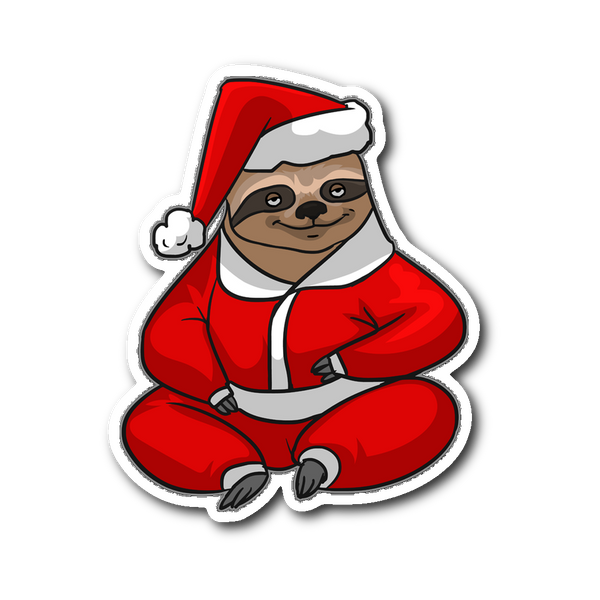 Sloth Santa Sticker for Car Bumper, Christmas Gifts for Sloth Lovers