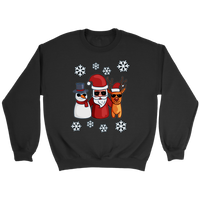 Santa Snowman Reindeer Sweatshirt, Christmas Gifts for Snow Lovers