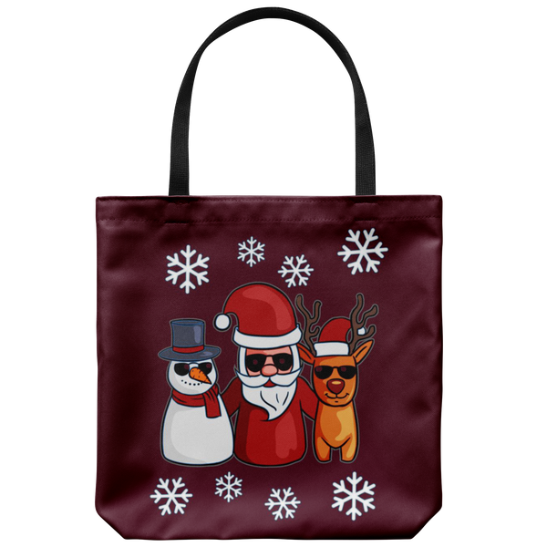 Santa Snowman Reindeer Tote Reusable Grocery Bag, Christmas Gifts for Snow Lovers