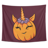 Unicorn Pumpkin Halloween Wall Hanging Tapestry, Gifts for Trick Treat Costume Party