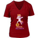 Dabbing Halloween Unicorn V Neck Shirt for Women, Gifts for Pumpkin Candy Treat Scary Trick