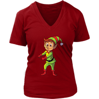 Elf V Neck Shirt for Women, Floss Dancing Gifts for Dance Lovers