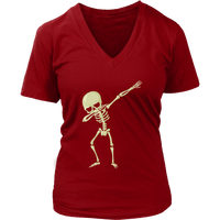 Halloween Skeleton Dabbing V Neck Shirt for Women, Gifts for Trick Treat Skull Party