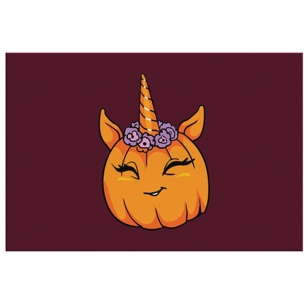 Unicorn Pumpkin Halloween Wall Decor Canvas, Gifts for Trick Treat Costume Party