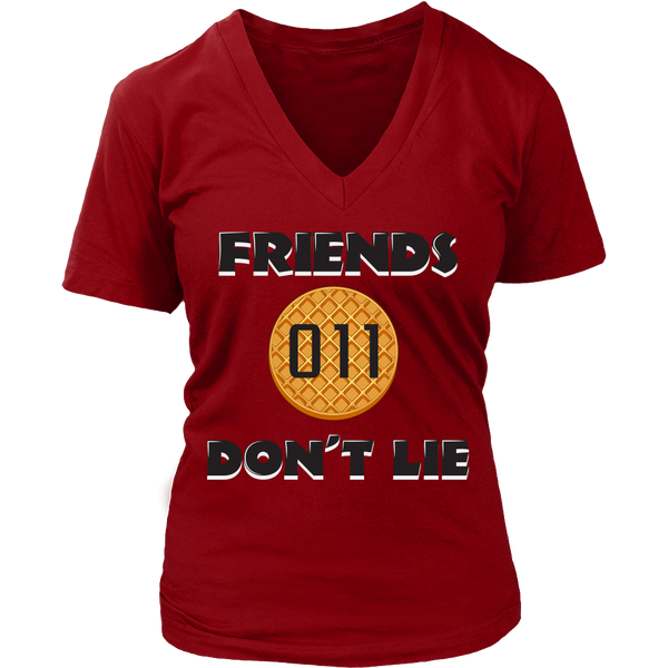 Friends Don't Lie Eleven Waffle V Neck Shirts for Women Plus Size