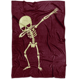 Halloween Skeleton Dabbing Fleece Blanket, Gifts for Trick Treat Skull Party