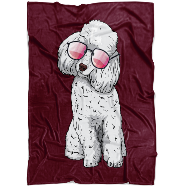Poodle Dog Sunglasses Funny Fleece Blanket, Gifts for Dog Puppy Lovers