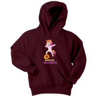 Dabbing Halloween Unicorn Youth Hoodie, Gifts for Pumpkin Candy Treat Scary Trick