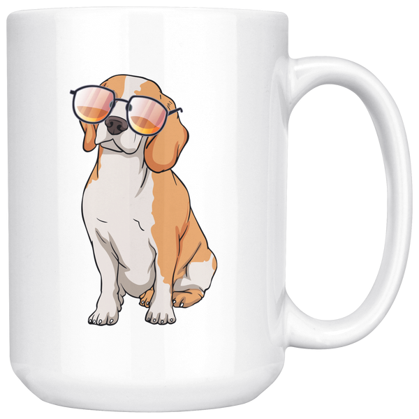 Beagle Dog Sunglasses Funny White Coffee Mug 15oz, Gifts for Dog Puppy Lovers