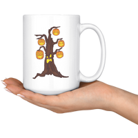 Halloween Pumpkin Tree White Coffee Mug 15oz, Gifts for Candy Treat Scary Trick