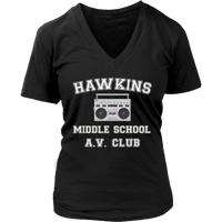 Stranger Hawkins Middle School VNeck Shirts for Women Things A V Club