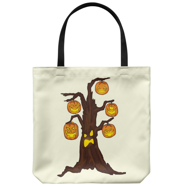 Halloween Pumpkin Tree Tote Reusable Grocery Bag, Gifts for Candy Treat Scary Trick