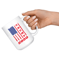 Trump 2020 USA Flag White Coffee Mug 15oz, Gifts for Republicans Conservative
