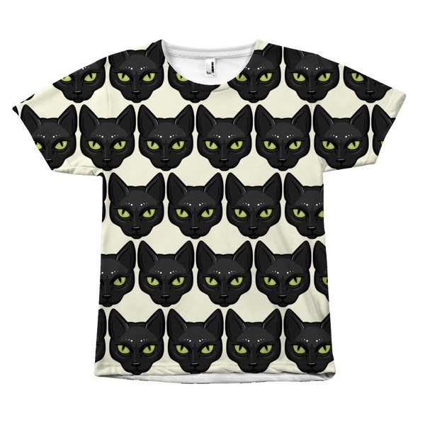 Black Cat Face T-Shirt, Gifts for Cat Lovers