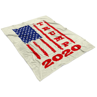 Trump 2020 USA Flag Fleece Blanket, Gifts for Republicans Conservative