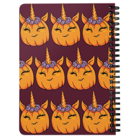 Unicorn Pumpkin Halloween Journal Diary Spiralbound Notebook, Gifts for Trick Treat Costume Party
