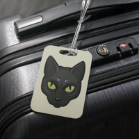 Black Cat Face Luggage Tag, Gifts for Cat Lovers
