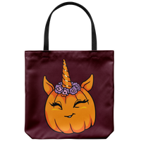 Unicorn Pumpkin Halloween Tote Reusable Grocery Bag, Gifts for Trick Treat Costume Party