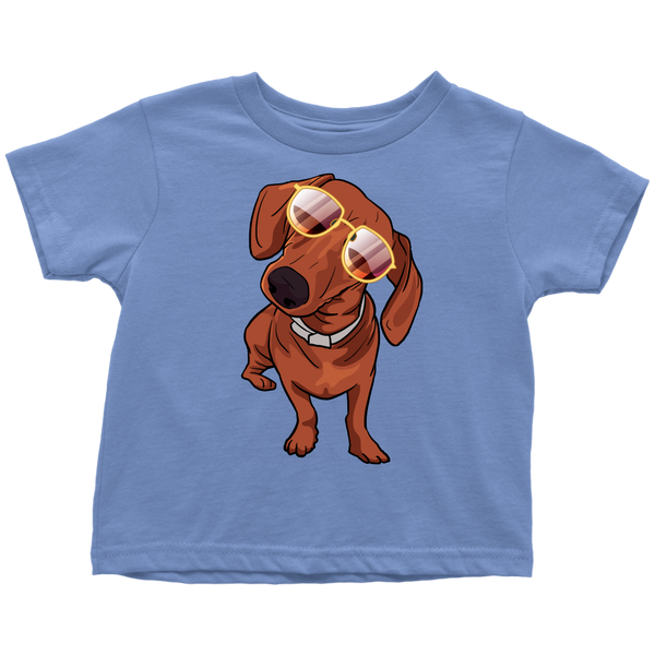 Dachshund wth Sunglasses Funny Toddler Tee Shirt, Gifts for Dog Puppy Lovers