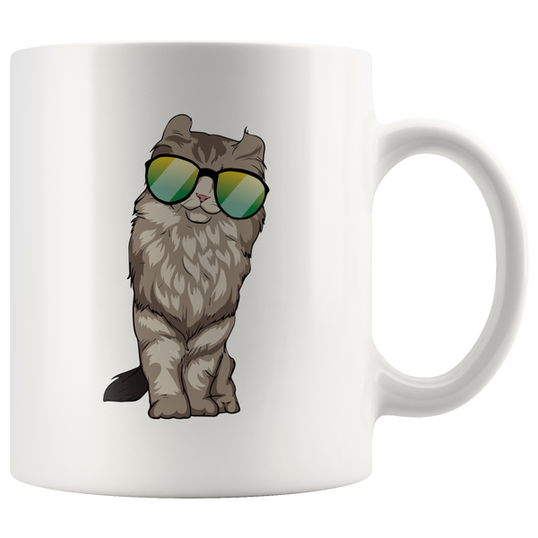 American Curl Cat White Coffee Mug 11oz, Cat Lover Gifts 9183A