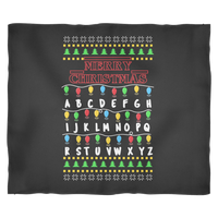 Merry Christmas Alphabets Fair Isle Stranger Christmas Lights Things Joyce Fleece Blanket for Women Men Kids