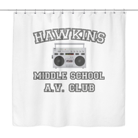 Stranger Hawkins Middle School Shower Curtains for Women Men Kids Things A V Club