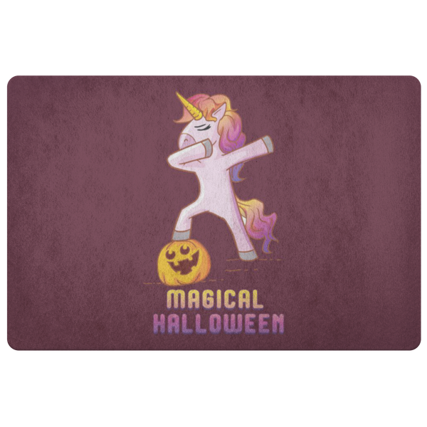 Dabbing Halloween Unicorn Door Mat, Gifts for Pumpkin Candy Treat Scary Trick