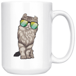 American Curl Cat White Coffee Mug 15oz, Cat Lover Gifts 9183A