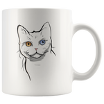 American Wirehair Cat White Coffee Mug 11oz, Cat Lover Gifts 9185