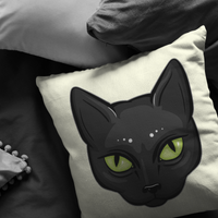 Black Cat Face Pillow, Gifts for Cat Lovers