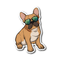 French Bulldog Sunglasses Funny Sticker for Car Bumper, Gifts for Dog Puppy Lovers