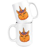Unicorn Pumpkin Halloween White Coffee Mug 15oz, Gifts for Trick Treat Costume Party