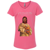 Image of Tom Brady Girls Pink Worship V Neck T Shirt