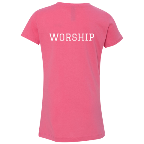 Tom Brady Girls Pink Worship V Neck T Shirt