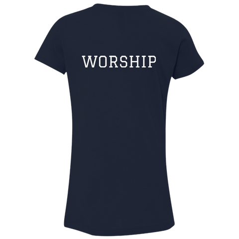 Tom Brady Girls Navy Worship V Neck T Shirt