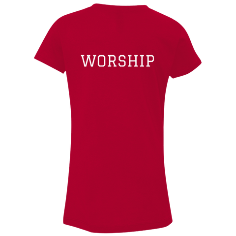 Tom Brady Girls Red Worship V Neck T Shirt