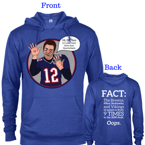 Tom Brady Blue Oops Cotton/Poly Blend Hoodie