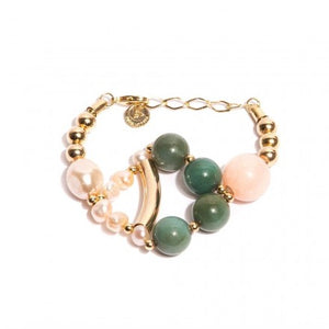 Green, Pink Jade Bracelet with Pearls - Gold Plated