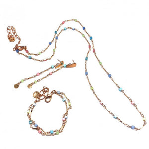 Set Necklace, Bracelet & Earrings With Colourful Crystals - Rose Gold Plated