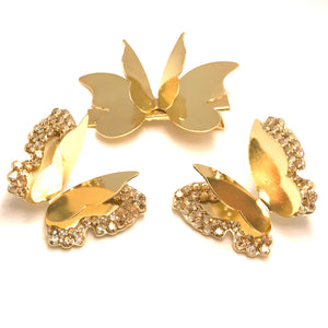 Set Clip & Earrings Butterfly 3 Pieces - Gold Plated