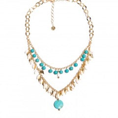 2 in 1 Choker & Necklace Turquoise, Pearls
