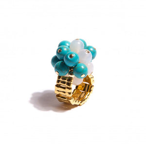 Turquoise & Agate Gold Ring