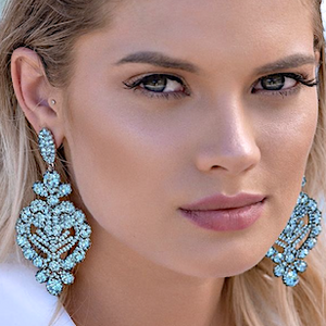 Aqua Blue Earrings Encrusted Crystals