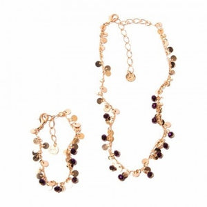 Set Choker & Bracelet With Purple Crystals - Rose Gold Plated