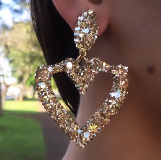 Heart Earrings with Golden Crystals