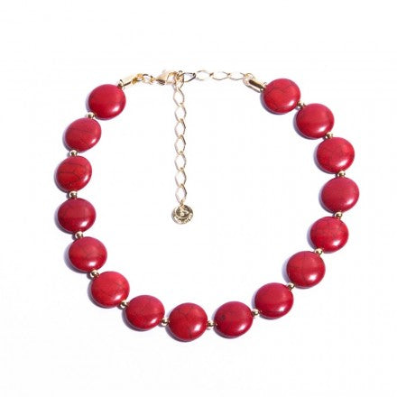 Disk Coral Choker - Gold Plated