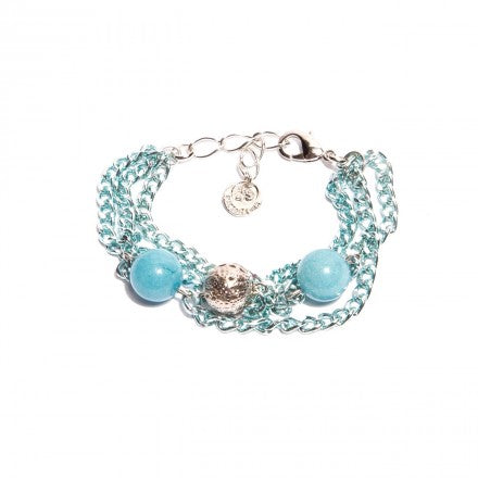 Turquoise Chains Bracelet With Blue Jade - Palladium Plated