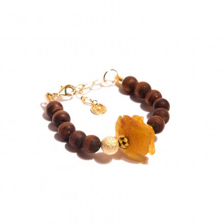 Brown Bracelet with Beads in Jasper & Amber Stone - Gold plated