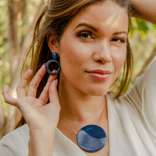 Blue Circle Agate Earrings
