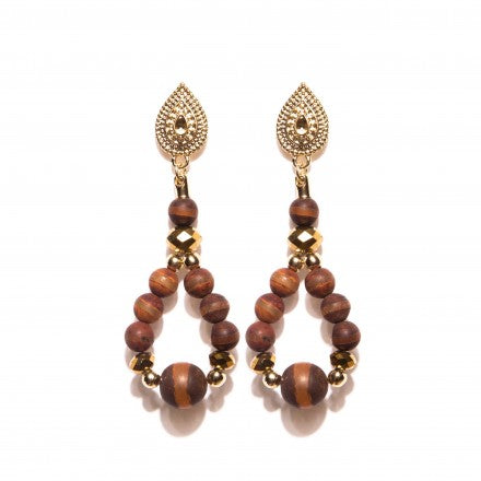 Brown Earrings with Beads in Jasper & Amber Stone - Gold Plated